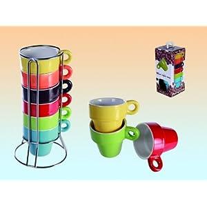 SalesFever Espresso Set 6 Tassen regenbogenfarbig im Ständer + Geschenkbox