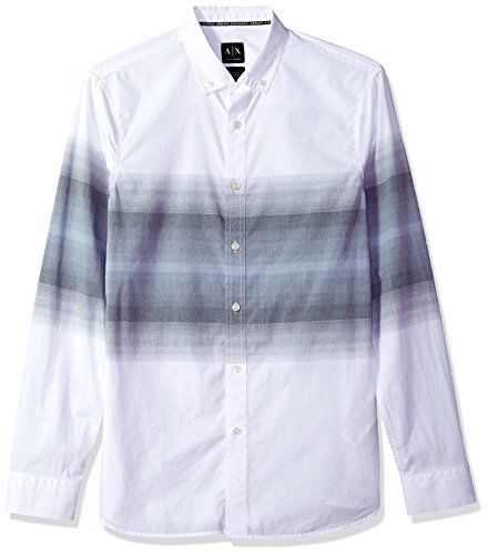 - A|X Armani Exchange Men's Long Sleeve Button Down Shirt with Fading, White Green, S
