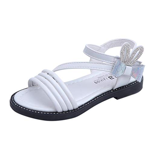 RDTIAN 3-12 Years Baby Childen Shoes Toddler Infant Kids Girls Rabbit Crystal Bowknot Princess Sandals Beige