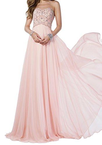 Ballkleider A Abendkleider mia Langes Bodenlang Festlichkleider Perlen Braut Linie Abschlussballkleider Rosa Steine La 4wSqC8WY4
