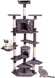 M'lady Corda de sisal fofa sólida de 203,2 cm de pelúcia, gato, árvore, gato, torre cinza-cinza, 51 x 52,5