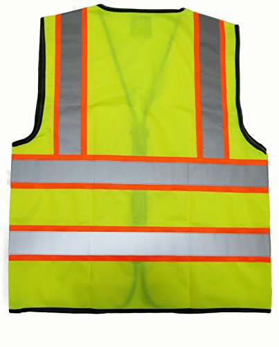 GripGlo Reflective Safety Vest, Bright Neon Color with 2 Inch Reflective Strips - Orange Trim - Zipper Front, Medium 2