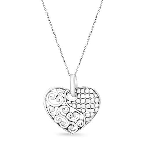 Willowbird Women's Beaded & Filigree Heart Pendant In Oxidized Sterling Silver