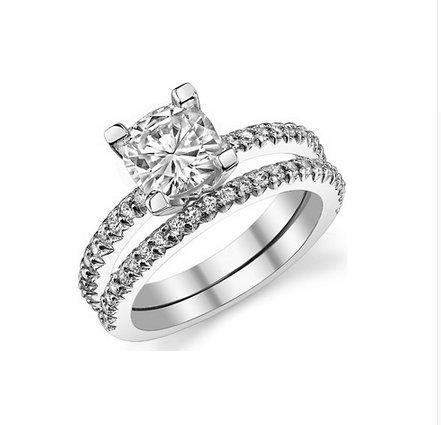Gowe 2carats brillant rond forme Ascd imitation diamant Or blanc massif 9K Diamant Or Blanc Bague de fiançailles de mariage Diamant
