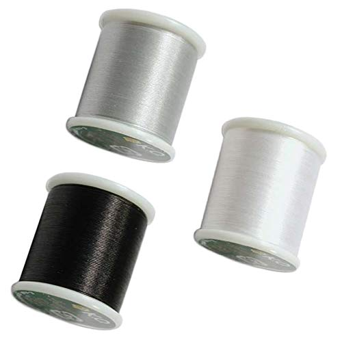 3 Color Bundle: Japanese Nylon Beading K.O. Thread for Delica/Seed Beads, White, Black & Light Grey 50 Meters per Color