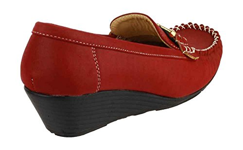 Amblers Female New Foster Synthetic Casual Moccasins Casual On Ladies Shoes Red Slip TxTnwqrv0