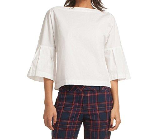 Trina Turk Women's September Bell Sleeve Polished Shirting Top, White, (3/4 Sleeve Shirting Top)