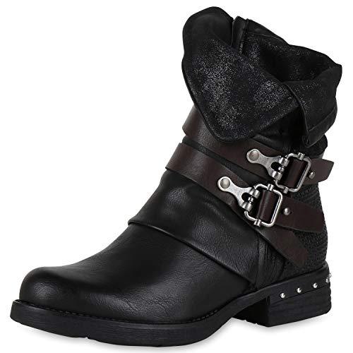 Black Black Boots Women's SCARPE VITA Rivets Biker 1aqT8
