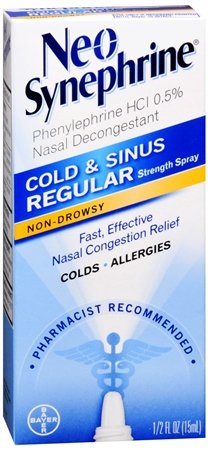 Spray Regular Formula (Neo-Synephrine Nasal Decongestant Spray Regular Strength 0.50 oz (PACK OF 3))