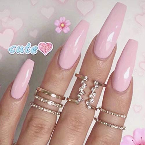 Aegenacess 24Pcs False Nails Medium Long Coffin Fake Design Pink Bridal Shiny Press On Gel Nail Acrylic Artificial Manicure Halloween Tips French With Two Double Sided Stickers for Women and Girls -