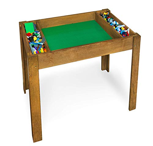 Brick Nation Lego Compatible Table with Storage for Older Kids Extra Large Play Table with Green Baseplate Sheets - Activity Furniture Compatible with Classic & Duplo - Lego Kids For Table Older