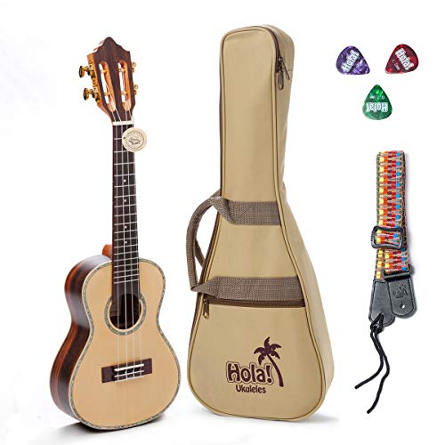 - Concert Ukulele Professional Series by Hola! Music (Model HM-424SSR+), Bundle Includes: 24 Inch SOLID Spruce Top Ukulele with Aquila Nylgut Strings Installed, Padded Gig Bag, Strap and Picks