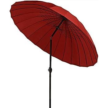 Sunnydaze Burnt Orange Shanghai Aluminum 8 Foot Patio Umbrella With Tilt U0026  Crank