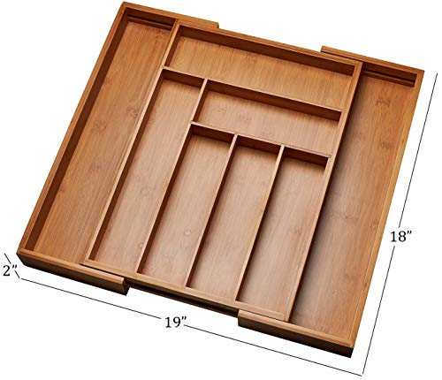 Kitchen Drawer Organizer, Adjustable Drawer Dividers to Fit Snugly Into Any Kitchen Drawer. Attractive Bamboo Wood Flatware, Cutlery and Utensil Tray is Also a Great Drawer Organizer Around the Home. by Handy Laundry (Image #3)