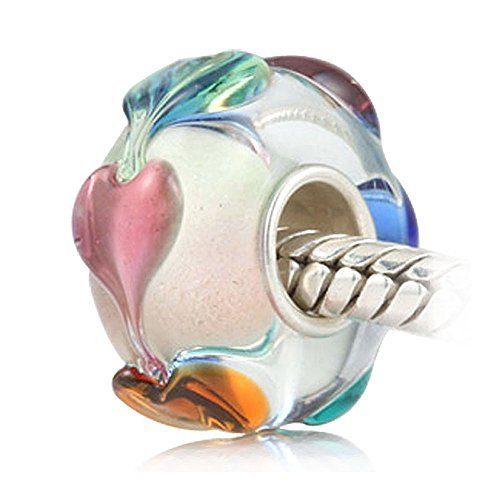 Murano Glass Lampwork Crystal Beads with Sterling Silver Core Colorful Heart Beads Charms for Charm Bracelets ()