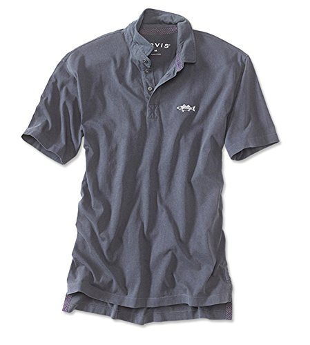 Orvis Men's Angler's Polo/Saltwater Fish Logo Polo, Washed Navy, X Large