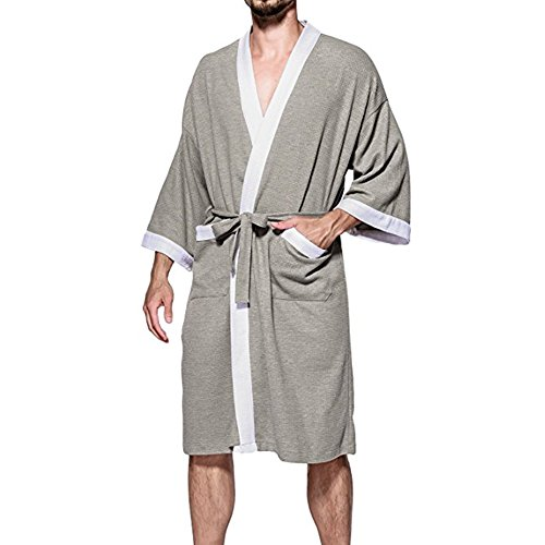 93faf2cd1634 60%OFF Aishang hai Men's Waffle Kimono Robes Spa Bathrobe Turkish ...