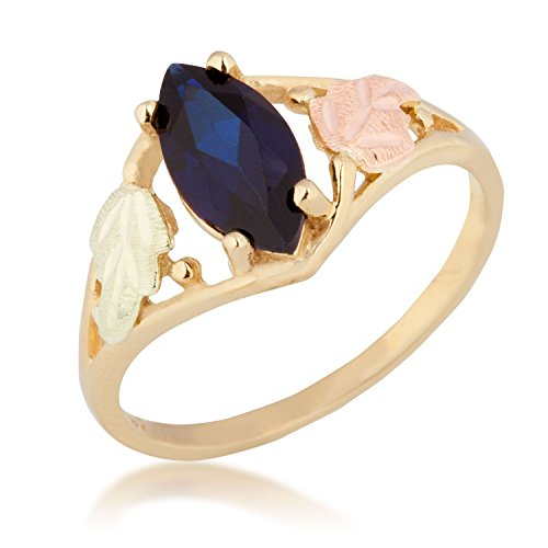 Created Marquise Sapphire Ring, 10k Yellow Gold, 12k Green and Rose Gold Black Hills Gold Motif, Size 5