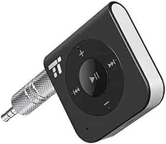 15 Hour Bluetooth Receiver/Bluetooth Car Kit, TaoTronics Portable Wireless Audio Adapter 3.5mm Aux Stereo Output (Hands-free Calling, Bluetooth 4.1, A2DP, CVC Noise Cancelling)