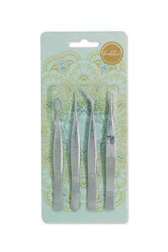 Beaditive Professional Stainless-Steel Precision Tweezer Set - Craft Tweezers for Jewelry & Nail Art - 4 Piece High Precision Jewelry Picking Tools - Jewelry Tools with Non-Serrated Tips