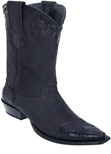 Los Altos Dames Snip Toe En Cuir Véritable Teju Avec Des Bottes Western Peau Du Désert Noir