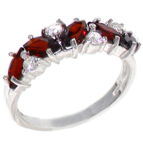 Diamond 14k Gold Estate Ring (14k White Gold Natural Garnet and Diamond Womens Eternity Ring - Sizes 4 to 12 Available)