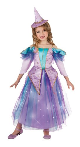 [Lavender Light Up Glitter Witch Costume, Small] (Girls Light Up Witch Costume)