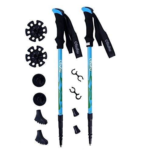 Ohuhu Retractable Anti Shock Trekking Poles / Hiking Poles, 2-Pack
