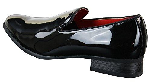 Mens Shiny Slip On Patent Leather PU Black Smart Formal Casual Shoes Black ZYS36