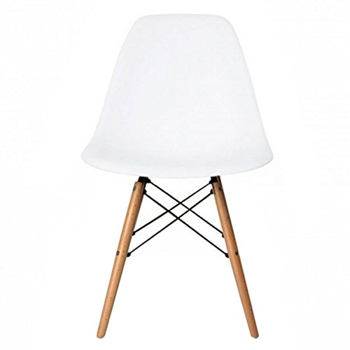 Meubles House PC-0116W-W Eames Style Side Chair-Modern Eiffel Style Adult Dining Natural Wood Base-White MH