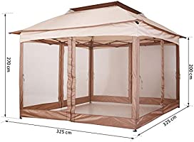 Outsunny Carpa Plegable 3.25x3.25m Gazebo Pabellón Cenador Jardín Doble Techo Mosquitera Bolsa Transporte Marco Acero Tela Poliéster Resistente de Agua: Amazon.es: Jardín