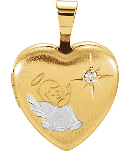 Childrens Diamond Guardian Angel Heart Locket Pendant, Yellow Gold Plate and Sterling Silver by The Men's Jewelry Store (for KIDS)