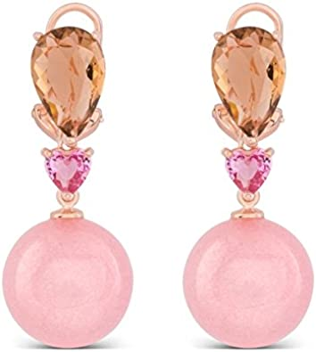Pendientes de plata dorado en oro rosa, con piedras rosadas,