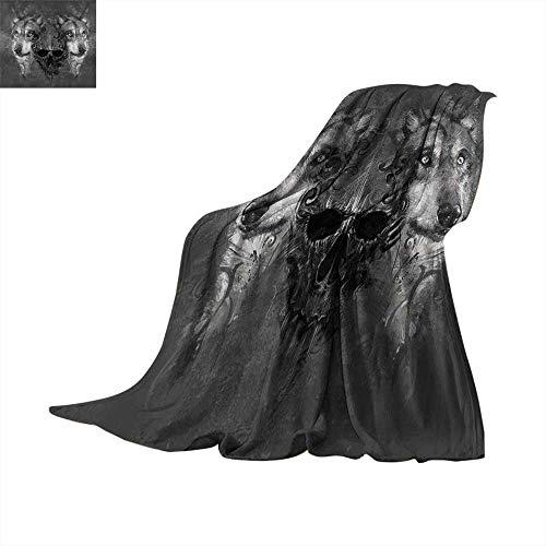 Wolf Faux Fur Blanket Abstract Skull Figure Between Two Canine Animals Wildlife Grunge Tattoo Like Artwork Fleece Blanket Grey Black. 50