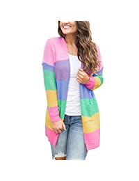 Belgius Women Casual Open Front Cable Knit Sweater Striped Loose Cardigan