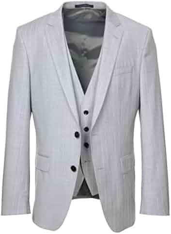 51861d23 Hugo Boss Men's Huge/Genius Slim Fit Light Grey Pinstripe 3 Piece Suit