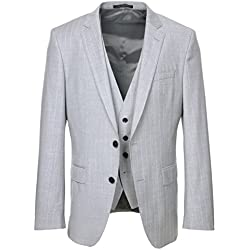 Hugo Boss Men's Huge/Genius Slim Fit Light Grey Pinstripe 3 Piece Suit - LT. Grey - 44R
