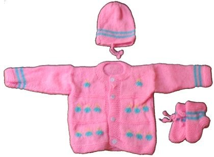 f4c4f365bba9 Little Bunnies Newborn Baby s Handknit Woollen Winter Clothing Set ...