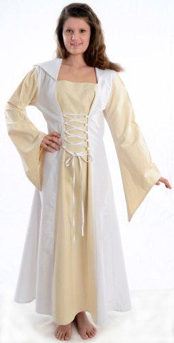 zum Damen Mittelalter schwarz rot mit Schnüren blau Gugel XL weiß Kleid HEMAD grün Weiß S braun d5twUxq5