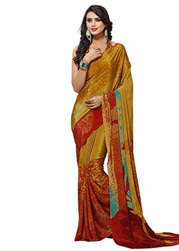 Jaanvi fashion Women's Crepe Printed Saree (Orange)