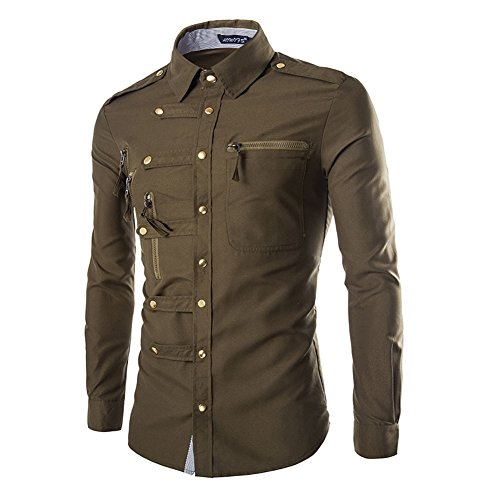 AOWOFS Men's Dress Shirt Long Sleeve Fashion Multi Zipper Button Down Casual Shirt Green from AOWOFS