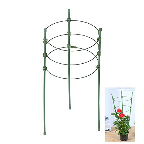 Plant Support Ring Garden Trellis Flower Iron Support Climbing Plant Grow Cage with Adjustable Rings Plant Ring