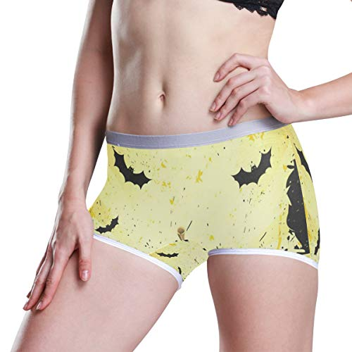 Grungy Halloween with Pumpkins and Bats Womens Seamless Panty Boyshorts Stretch Sexy Underwear Boy Shorts -