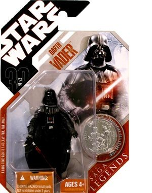 Star Wars Basic Figure Darth Vader 30th Anniversary Saga Legends w/ Coin