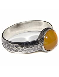 Sterling silver unisex wedding ring handmade, amber natural gemstone Express Shipping