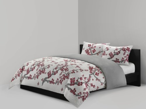 N Natori Cherry Blossom Duvet Cover King Size - Red, Grey , Cherry Blossom Duvet Cover Set - 3 Piece - 100% Cotton Sateen Light Weight Bed Comforter Covers