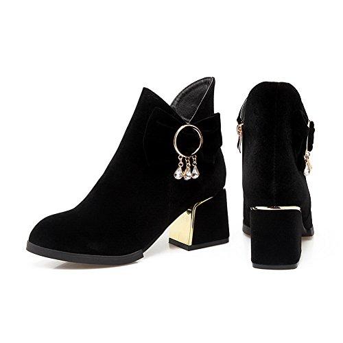 BalaMasa Womens Dress Pointed-Toe Slip-Resistant Suede Boots ABL10288 Black twJJb7LNoL