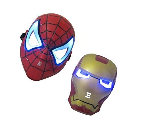 PALLION Halloween Iron Man Spider-man LED Light Eye Face Mask (Iron mask & Spider mask)