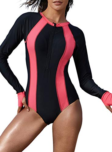 Aleumdr Womens Long Sleeve Rash Guard UV UPF 50+ Sun Protection Printed Zipper Surfing One Piece Swimsuit Bathing Suit Rose Medium 8 10 ()