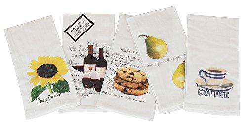 (ASD Living Vintage Classic Flour Sack Printed Towel Set of 5, Solid,)